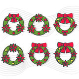 Christmas wreath set with red bow icon with long shadow. Vector illustration minimal flat design. Royalty Free Stock Images