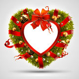 Christmas wreath in the shape of heart Royalty Free Stock Photo