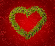 Christmas wreath in the shape of a heart Royalty Free Stock Photo