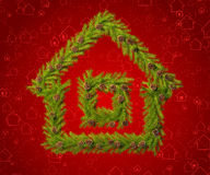Christmas wreath in the shape of a house. To decorate your room in a New Year's Eve Stock Photo