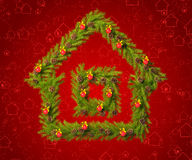 Christmas wreath in the shape of a house. To decorate your room in a New Year's Eve Stock Images