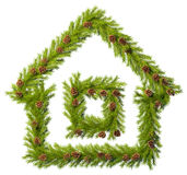 Christmas wreath in the shape of house  on white. To decorate your room in a New Year's Eve Stock Photography