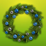 Christmas wreath and shiny balls. Vector christmas background Royalty Free Stock Photo