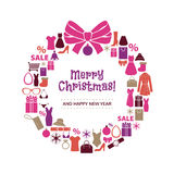 Christmas wreath of shopping icons. Royalty Free Stock Photo