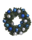 Christmas Wreath with Silver and Blue Ornaments on White Background Royalty Free Stock Photography