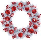 Christmas wreath with silver colour fir branches, berries and re Royalty Free Stock Photography