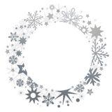 Christmas wreath and silvery stars Stock Photos