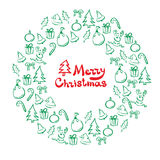 Christmas wreath of sketch doodles. Royalty Free Stock Images