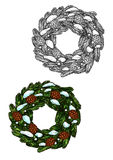 Christmas wreath sketch fir branches, pine cones Royalty Free Stock Photo