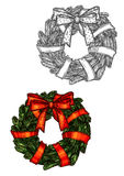 Christmas wreath sketch icon with red ribbon. Christmas fir wreath tied with red ribbon. Traditional new year decoration symbol. Vector sketch isolated new year Royalty Free Stock Images