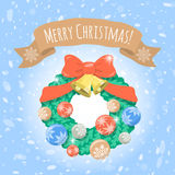 Christmas Wreath on Snowy Background Royalty Free Stock Photography