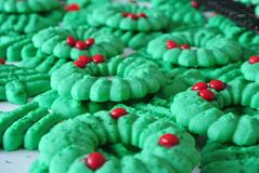 Christmas Wreath Spritz Cookies. Green and red holiday wreath spritz cookies stock photo