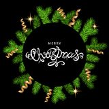 Christmas wreath  with spruce branch, gold  serpentine  on black. Christmas wreath  with spruce branch, gold  serpentine and lettering on black  background Royalty Free Stock Image