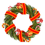 Christmas wreath of spruce branches. Royalty Free Stock Image