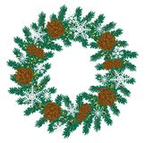Christmas wreath of spruce and cones. Vector illustration. Vector picture of a Christmas tree wreath with cones and snowflakes on white background for winter Royalty Free Stock Photos