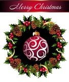 Christmas wreath with star and pinecones. Wreath  garland  ball  pinecone berry ribbon star Royalty Free Stock Photo