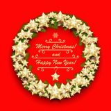 Christmas wreath with stars and fir branches. New Year greeting background. Vector illustration Stock Images