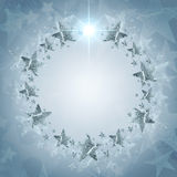 Christmas wreath of stars over grey background Royalty Free Stock Photos