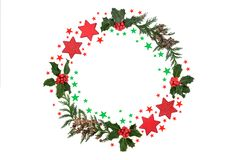 Christmas Wreath with Stars and Winter Greenery