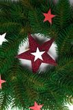 Christmas wreath with stars stock photography