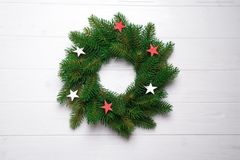 Christmas wreath with stars royalty free stock photos