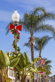 Christmas Wreath Street Light Lantern Decorations Ventura Califo Royalty Free Stock Photo