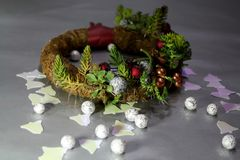 Christmas wreath with succulents, decorative pearls and jingles. Christmas wreath with succulents, decorative pearl balls and bell shaped forms royalty free stock image