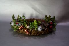 Christmas wreath with succulents and small decorative balls stock images