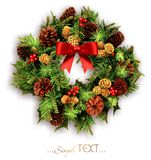 Christmas wreath with swords and a red bow isolated. Royalty Free Stock Photography