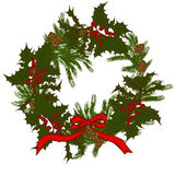 Christmas wreath. Symbol of Christmas, Christmas wreath, holly, spruce, fir cones, bow Royalty Free Stock Images