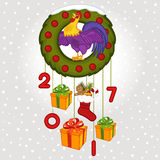 Christmas wreath with symbol 2017 rooster. Vector illustration, eps Royalty Free Stock Image