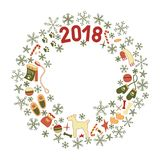 Christmas Wreath, Symbols of year Dog. Classic Christmas Wreath with the symbols of the new year 2018, the Year of the Dog. Color green, red, yellow, orange. For Royalty Free Stock Images
