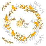 Christmas wreath with tangerines and pine cones royalty free stock photos