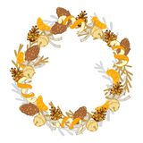 Christmas wreath with tangerines and pine cones royalty free stock image
