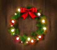 Christmas Wreath Template. With light garland and red bow on wooden background isolated vector illustration Stock Photography