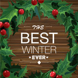 Christmas wreath with text banner. Vector. Stock Image