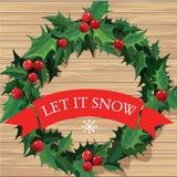 Christmas wreath with text banner. Vector. Stock Photos