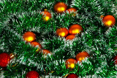 Christmas wreath of tinsel and balls Stock Images