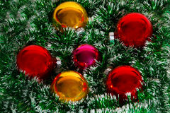 Christmas wreath of tinsel and balls Stock Photo