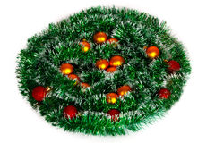 Christmas wreath of tinsel and balls Royalty Free Stock Images
