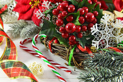 Christmas wreath with traditional decorations Stock Image