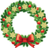 Christmas wreath with traditional green bow decorations ball, bells, ribbons. Christmas wreath with traditional decorations royalty free illustration