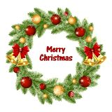 Christmas wreath of Christmas tree branches with golden bells and balls royalty free illustration