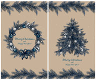 Christmas wreath and tree with decorations: balls, ribbons and stars. Set of two greeting cards. Christmas wreath and tree with decorations: balls, ribbons and Royalty Free Stock Images