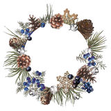 Christmas wreath. Tree, wild berries, gingerbread and jingle bells Stock Image