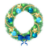 Christmas wreath. Trim a Christmas wreath of fir twigs, decorated with blue balls and bow.  object on a white background, vector illustration Stock Images