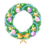 Christmas wreath. Trim a Christmas wreath of fir twigs, decorated with pink balls and bow. Isolated object on a white background, vector illustration Stock Image