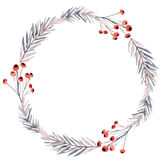 Christmas wreath. With twigs and berries Royalty Free Stock Image