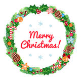 Christmas wreath vector card (and background) Royalty Free Stock Photo