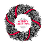 Christmas wreath. Vector hand drawn illustration with fir tree b Royalty Free Stock Image
